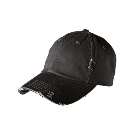 Distressed Logo Cap - Mafoose Men's Distressed Cap Hat Black