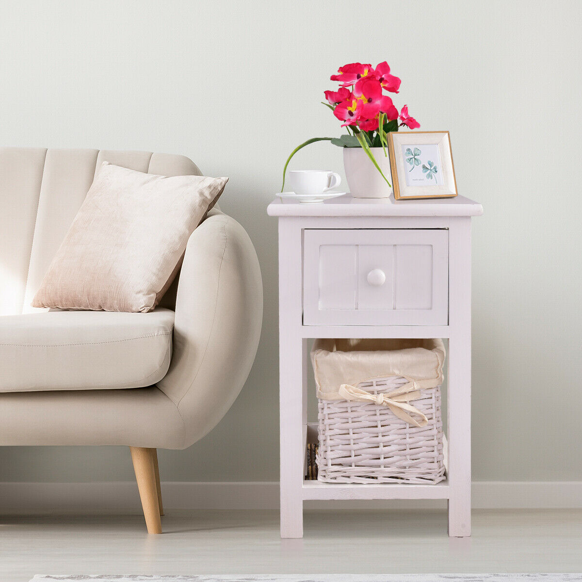 Night Stand 2 Layer 1 Drawer Bedside End Table Organizer Wood W//Basket white