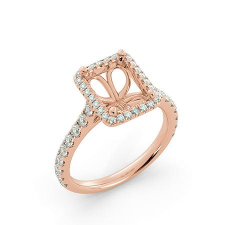 Emerald Semi Mount Ring - Emerald Halo Semi Mount Round Natural Diamond Engagment Ring Vintage 18k Rose Gold
