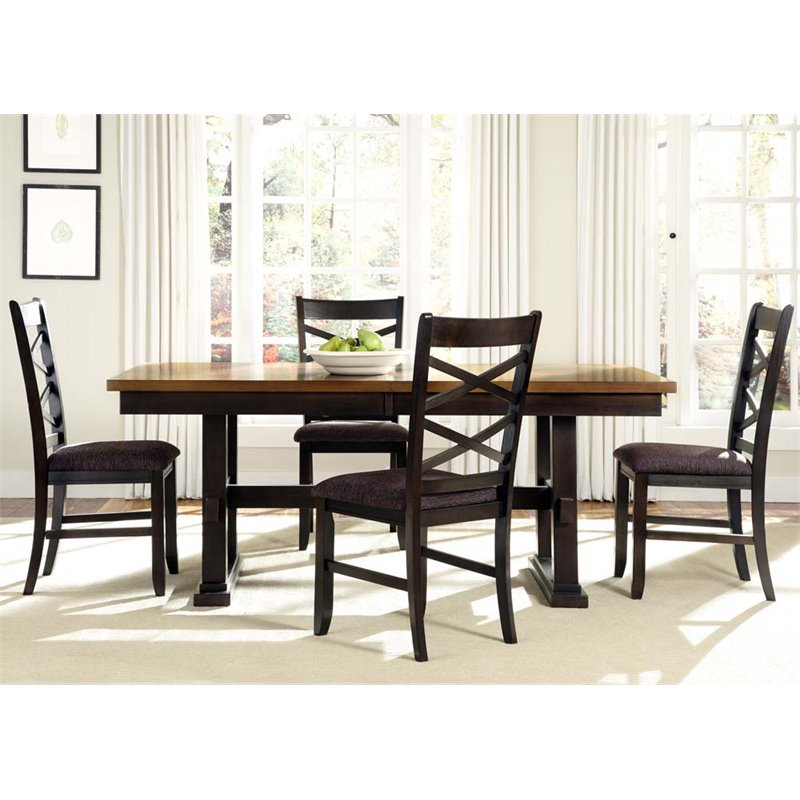 Liberty Furniture Bistro II Trestle Dining Table in Honey and Espresso