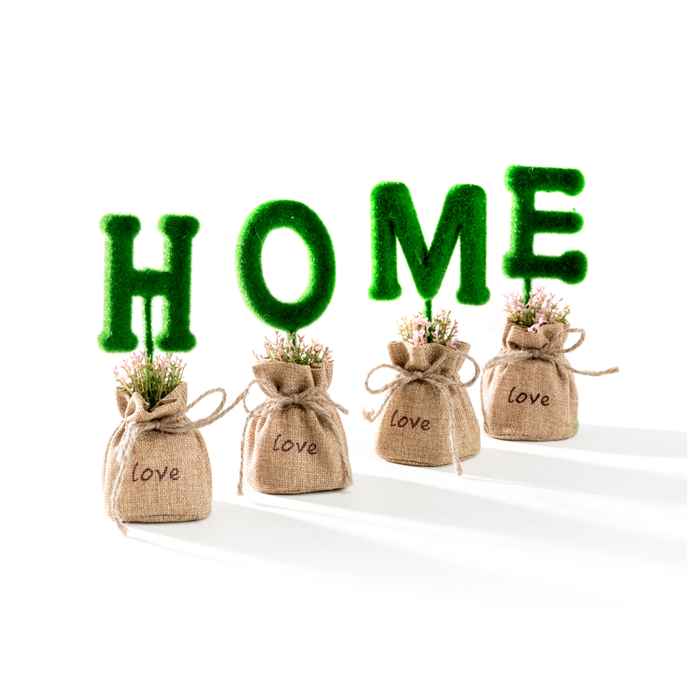 Home Decoration Mini Green Artificial Plant Set / Set of 4 Fake Plant Letters potted in sack