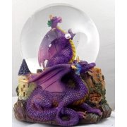 Purple Dragon Clutching Crystal with Castle Snow Globe - Sculptured Resin Water Ball Music Box 5 3/4