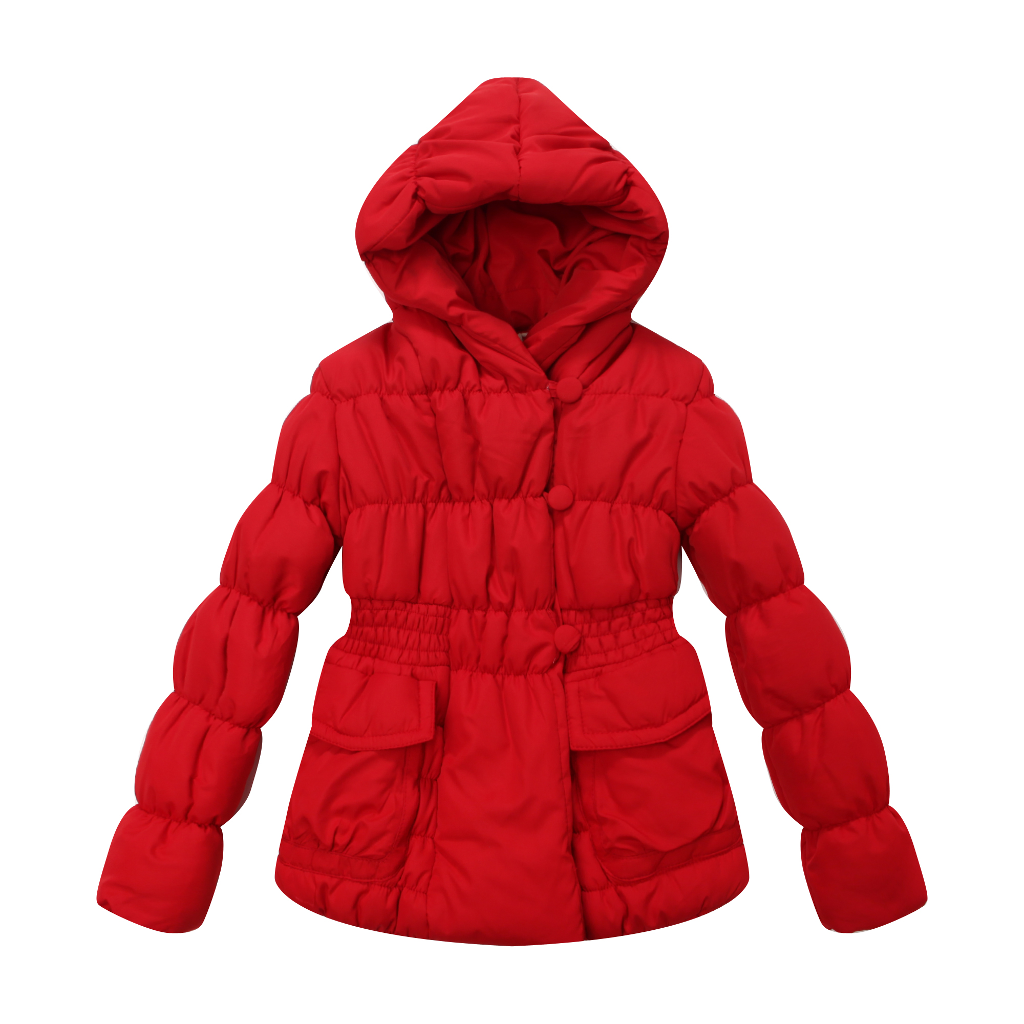 Image of Richie House Little Girls Red Solid Color Flap Pocket Padded Jacket 1/2
