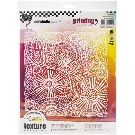 Carabelle Studio Art Printing Square Rubber Texture Plate-Of Threads & Flowers