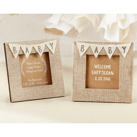Rustic Baby Shower Burlap Place Card Holder/Picture Frame - Set of 24 - Perfect Baby Shower Favor/Decoration