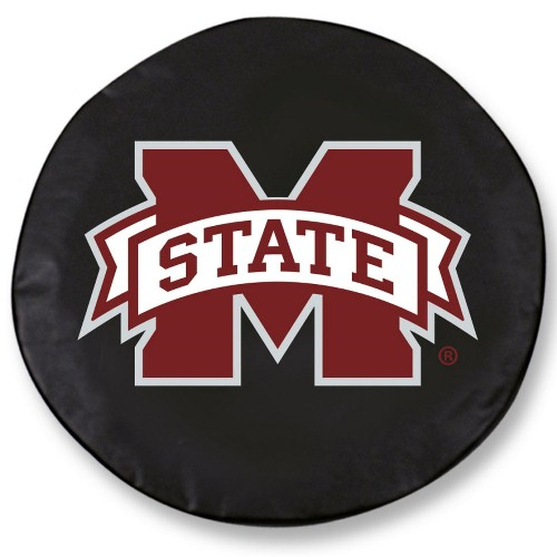 NCAA Tire Cover by Holland Bar Stool - Mississippi State, Black - 29.75'' x 8''