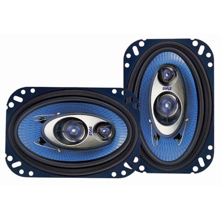 PYLE PL463BL - 4'' x 6'' Three Way Sound Speaker System - Pro Mid Range Triaxial Loud Audio 240 Watt per Pair w/ 4 Ohm Impedance and 3/4'' Piezo Tweeter for Car Component Stereo