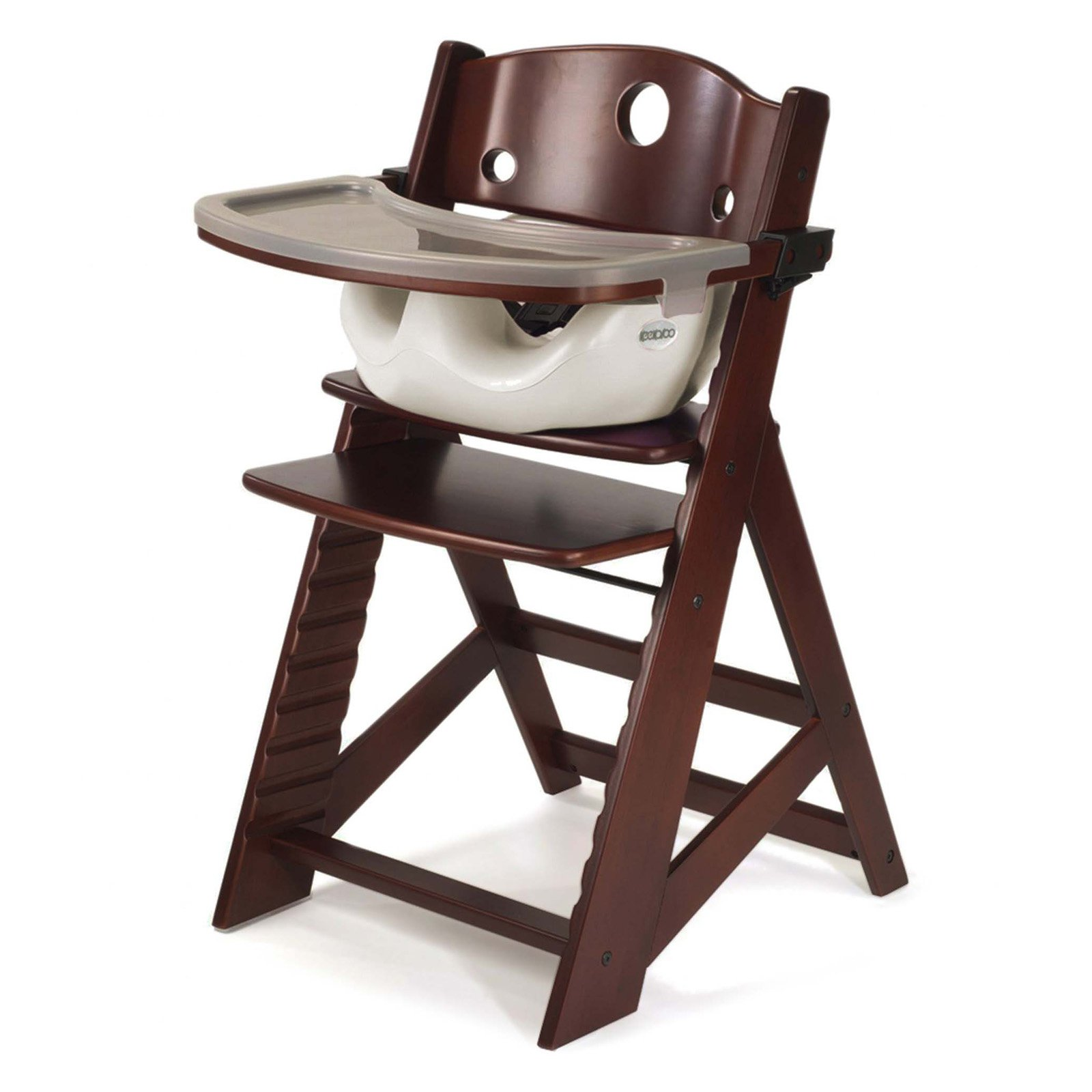 Keekaroo Height Right High Chair Mahogany with Black Infant Insert and Tray