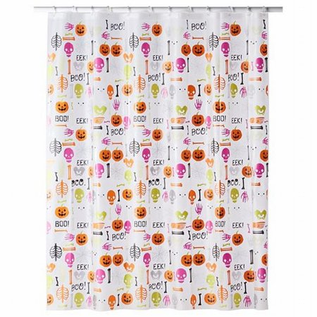 Celebrate Halloween Glow In The Dark Shower Curtain Boo Pumpkin & Skulls - Halloween 3 Shower Scene
