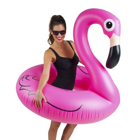 BigMouth Inc. Pink Flamingo Pool Float, Inflates to Over 4ft. Wide, Inflatable Vinyl Summer Pool Toy](Inflatable Flamingo Drink Holder)