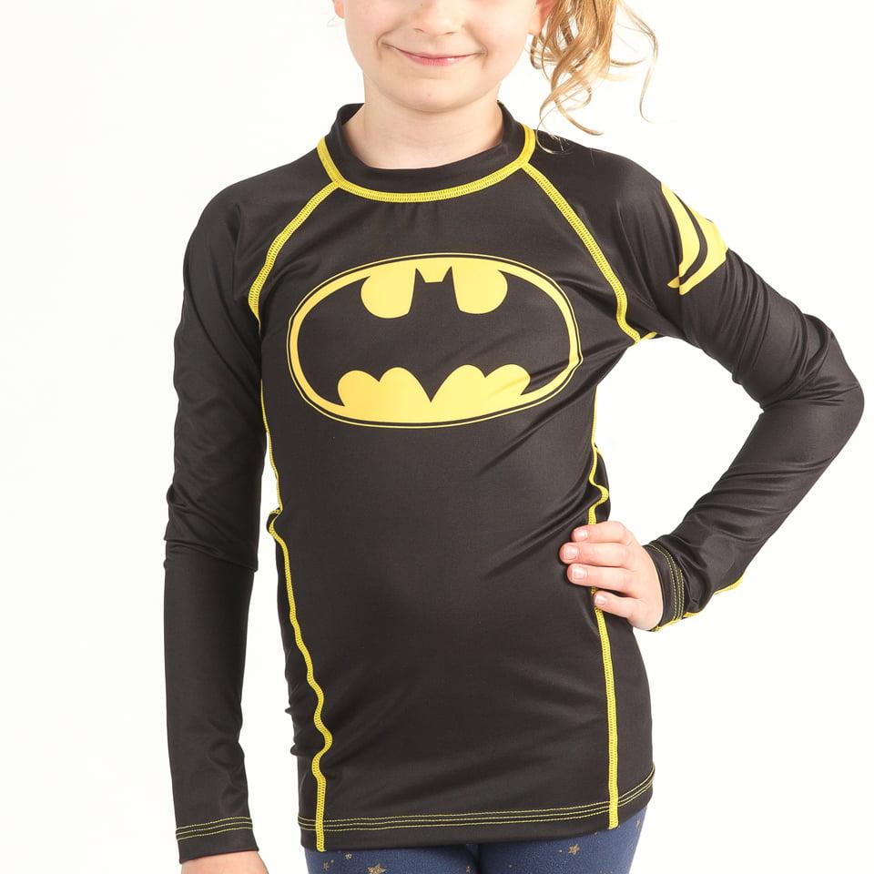 Fusion Fight Gear Batman Logo Kids Rash Guard Compression Shirt Long Sleeve XXL