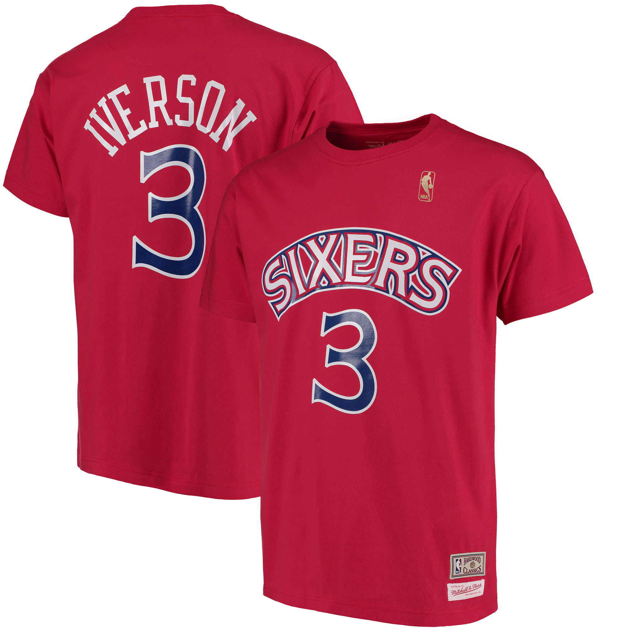 Allen Iverson Philadelphia 76ers Mitchell & Ness Hardwood Classics Retro Name & Number T-Shirt - Red
