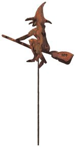 Village Wrought Iron RGS 26 Witch U0026 Broom   Rusted Garden Stake