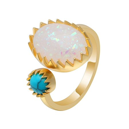 Ginger Lyne Collection Bexley Unique Oval Lab Created Fire Opal Turquoise Ring