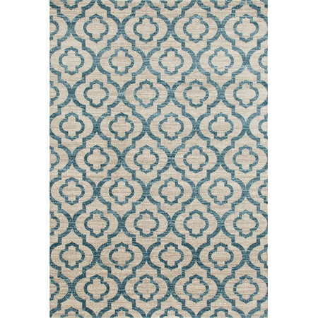 Moroccan Trellis Pattern High Quality Soft Blue Area Rug or Runner ()