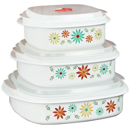 Corelle Coordinates 6-Piece Microwave Safe Cookware/Storage Set, Happy Days