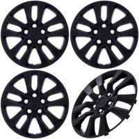 """Cover Trend (Set of 4) Black Matte Aftermarket 16"""" Inch Hubcaps fits Nissan Altima, Quest - Replica Snap-On Wheel Covers"""