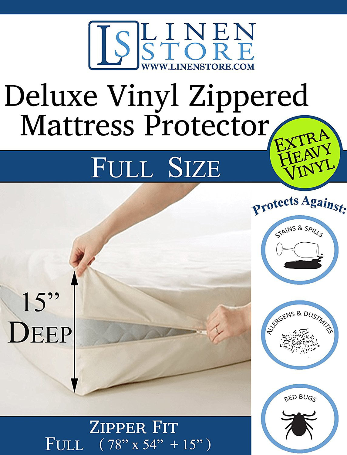 Heavy Duty PVC Vinyl Mattress Protector Cover, Hypoallergenic Waterproof Encasement, Bed... by Linen Store