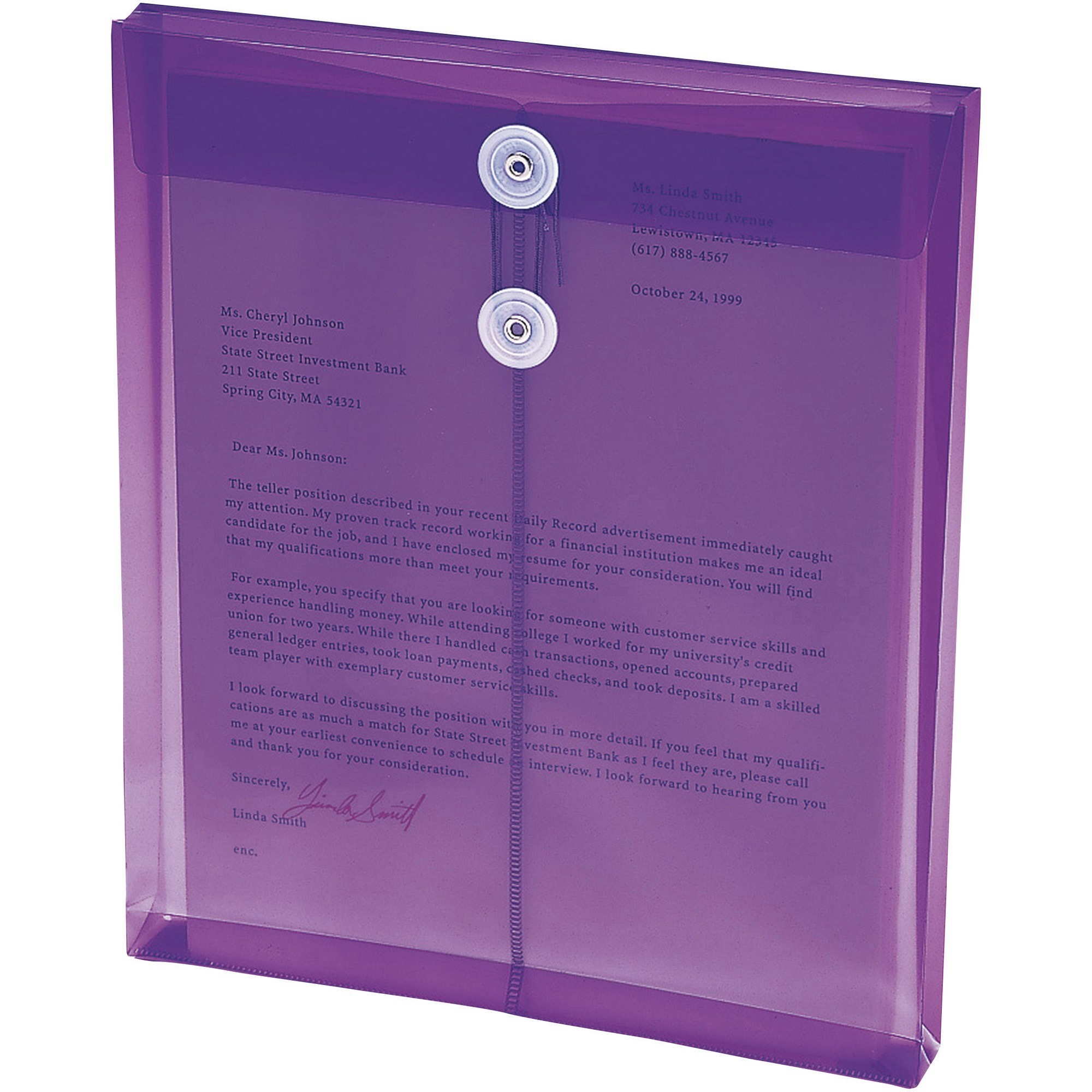 Smead, SMD89544, String Tie Closure Poly Envelopes, 5 / Pack, Purple