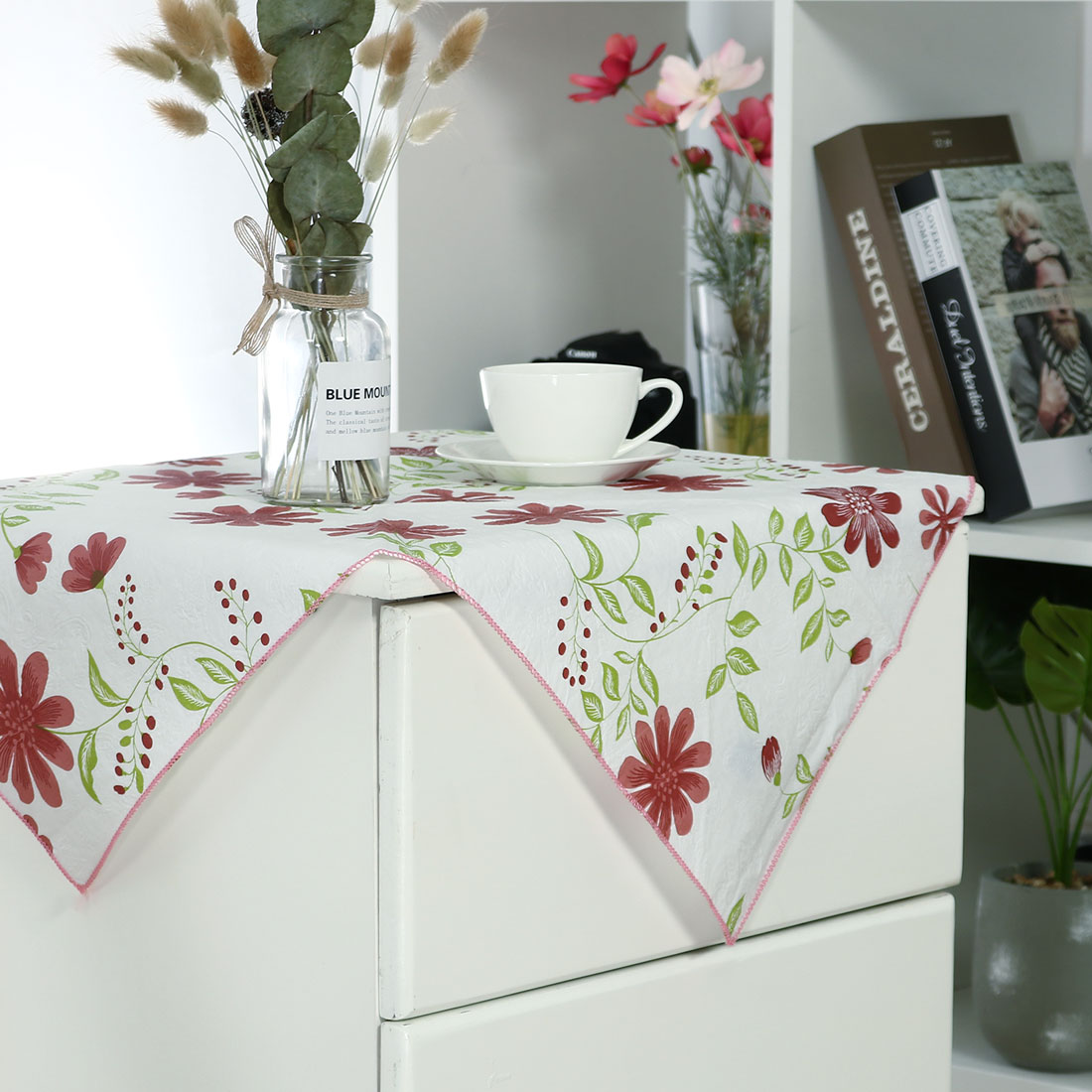 """Seamless Stain Water Resistant PVC Rectangular Tablecloth 24"""" x 24"""" Red Flower - image 6 of 8"""