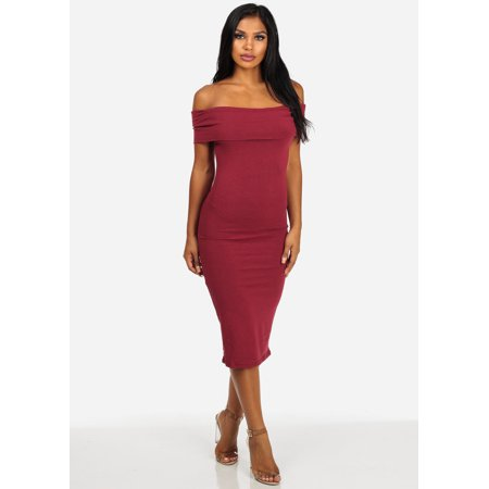 9a2cdce5f48b ModaXpressOnline - Womens Juniors Off-Shoulder Slim Fit Wine Midi Dress  30555B - Walmart.com