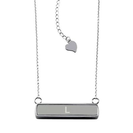Stainless Steel Laser Engraved Alphabet Letter L Initial Horizontal Bar Charm Necklace - Rose Laser Charm
