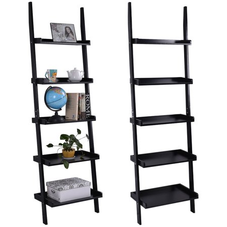 Costway Versatile Black 5-Tier Bookshelf Leaning Wall Shelf Ladder Bookcase Storage Display