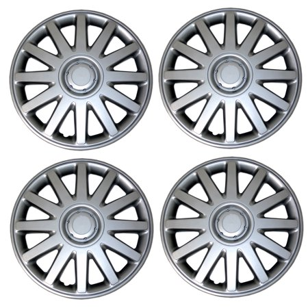 Set of 4  Metallic Silver Hubcaps 17