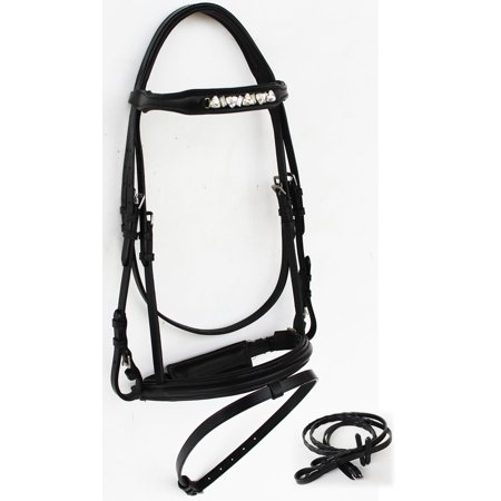 Pony Dressage Bridle - Horse English Leather COB Jumping Hunter Dressage Show Bridle Schooling 803S04-C