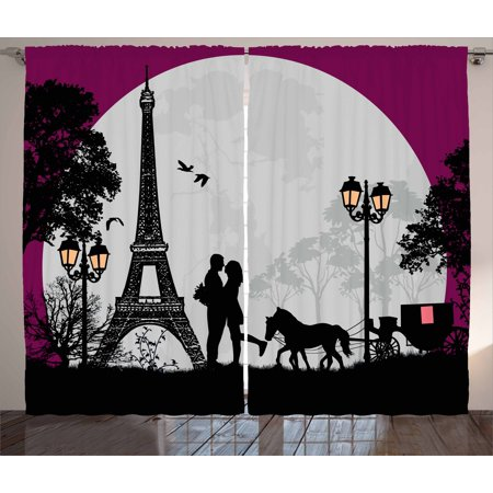 Na Front Panel - Romantic Curtains 2 Panels Set, Horse Carriage Couple Hugging in front of the Eiffel Tower and Full Moon, Window Drapes for Living Room Bedroom, 108W X 90L Inches, Fuchsia Grey Black, by Ambesonne