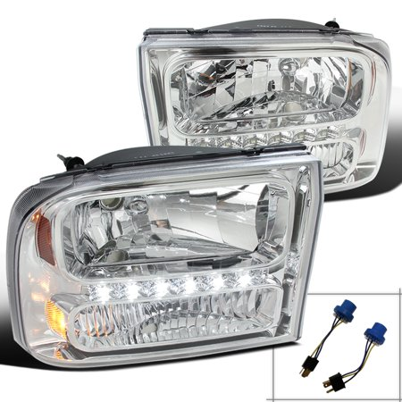 - Spec-D Tuning For 1999-2004 Ford F250 F350 Superduty 2000-2004 Excursion 1Pc Chrome Clear Led Headlights 1999 2000 2001 2002 2003 2004 (Left+Right)