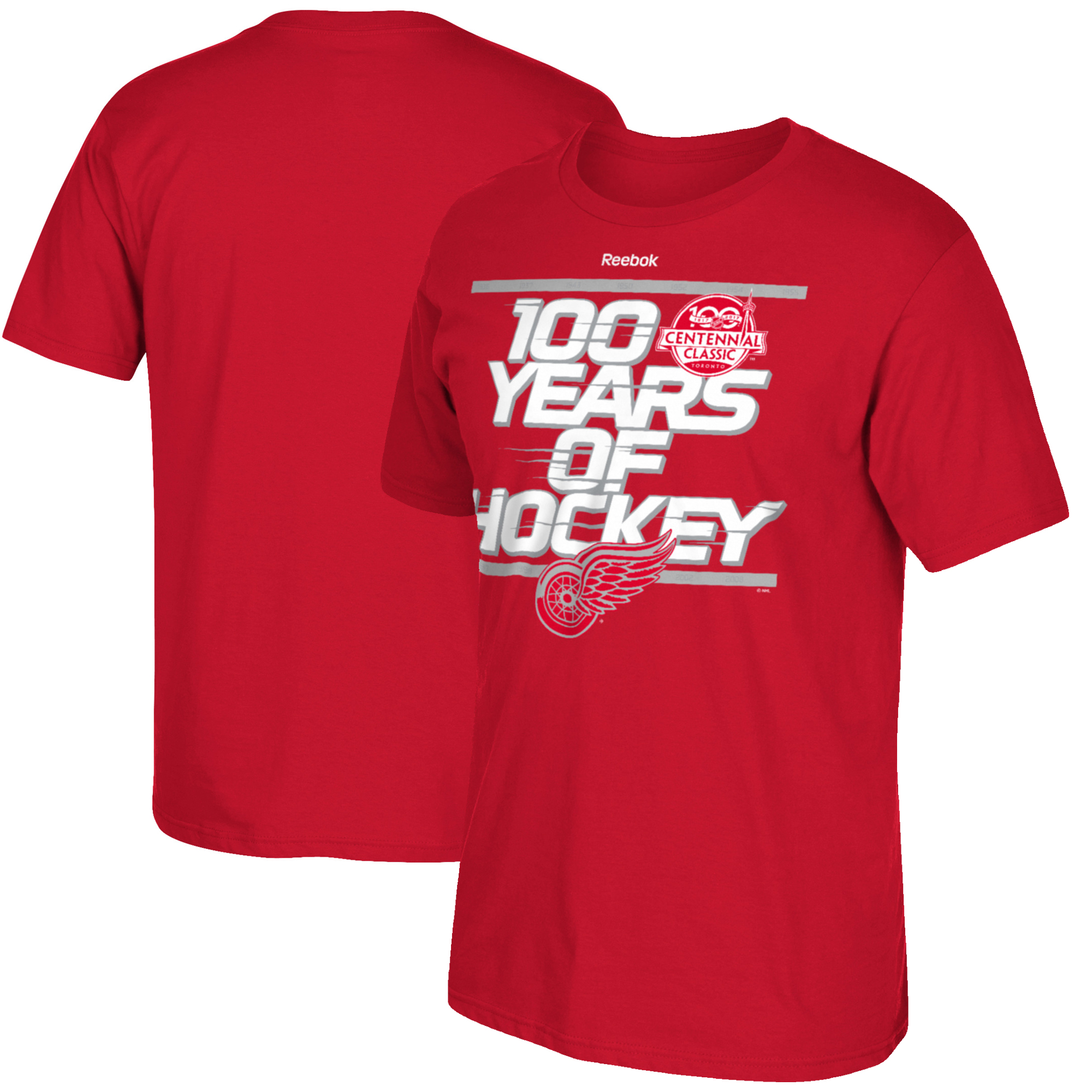 Detroit Red Wings Reebok 2017 Centennial Classic Localized T-Shirt - Red