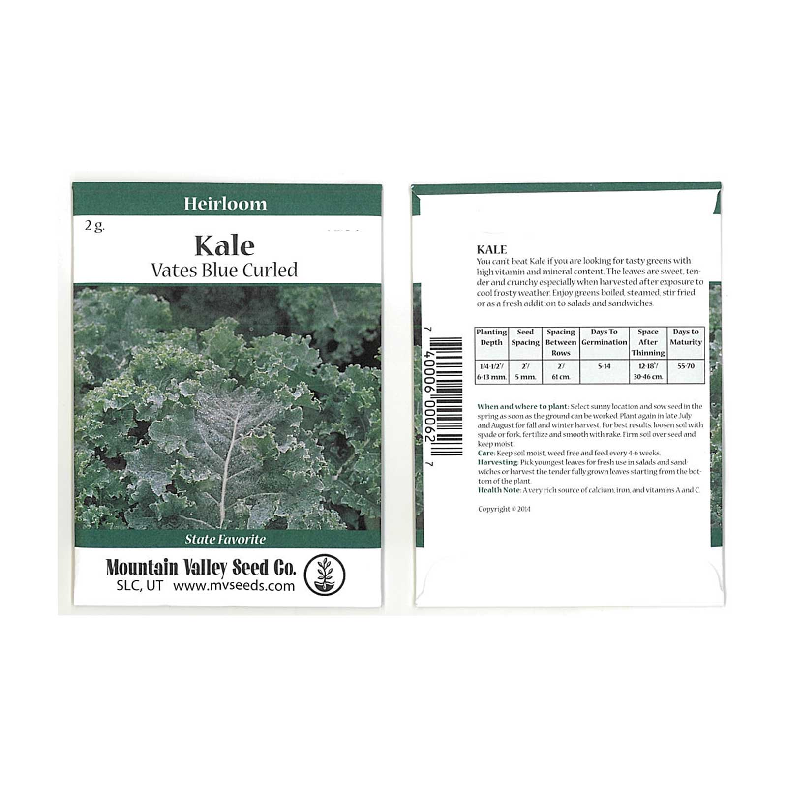 Kale Garden Seeds - Vates Blue Scotch Curled - 2 Gram Packet - Non-GMO, Heirloom- Vegetable Gardening & Microgreens