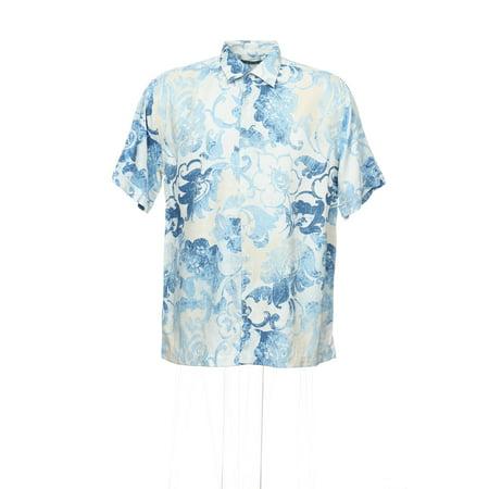Cubavera Men's Light Blue Hawaiian Camp Shirt