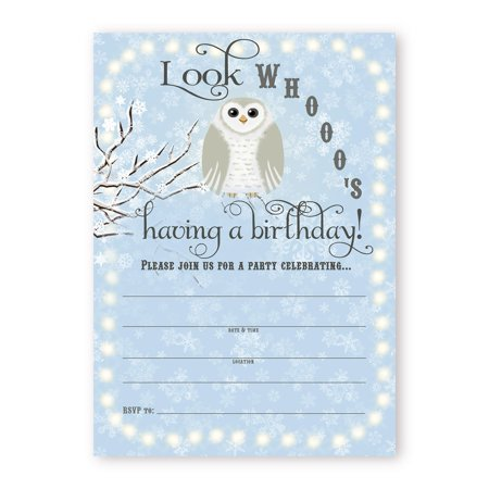 Snowy Owl Birthday Party LARGE Invitations - Blue - 10 Invitations 10 Envelopes - Owl Birthday Party