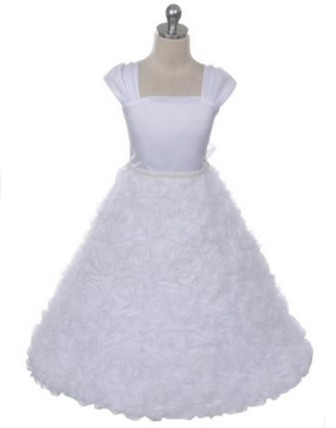 6f26d0106 Efavormart Satin Bodice and Ruffled Rosette Skirt with beaded Belt Birthday  Girl Dress Junior Flower Girl Wedding Party Girls Dress