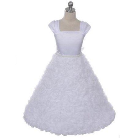 Efavormart Satin Bodice and Ruffled Rosette Skirt with beaded Belt Birthday Girl Dress Junior Flower Girl Wedding Party Girls Dress (Beaded Bodice)