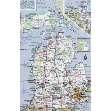 Michigan State Map - Laminated Map - Large detailed roads and highways map of Michigan state with all cities Poster 24 x 36