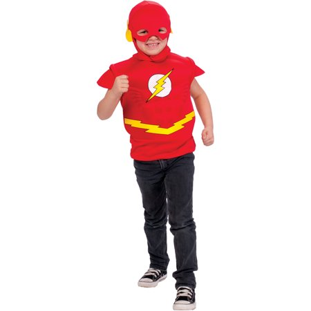 Boys Justice League The Flash Muscle Chest T-Shirt Mask and Cape Costume - Flash Muscle