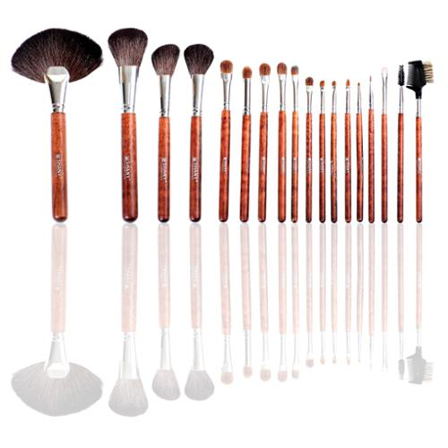 SHANY Pro 18-piece Premium Studio Quality Wooden Handled Goat Hair Brush Set with Golden Pouch