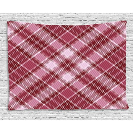 Checkered Tapestry  Cross Checkered Pattern With Diagonal Strips And Rhombus Shapes  Wall Hanging For Bedroom Living Room Dorm Decor  60W X 40L Inches  Dried Rose Ruby And White  By Ambesonne