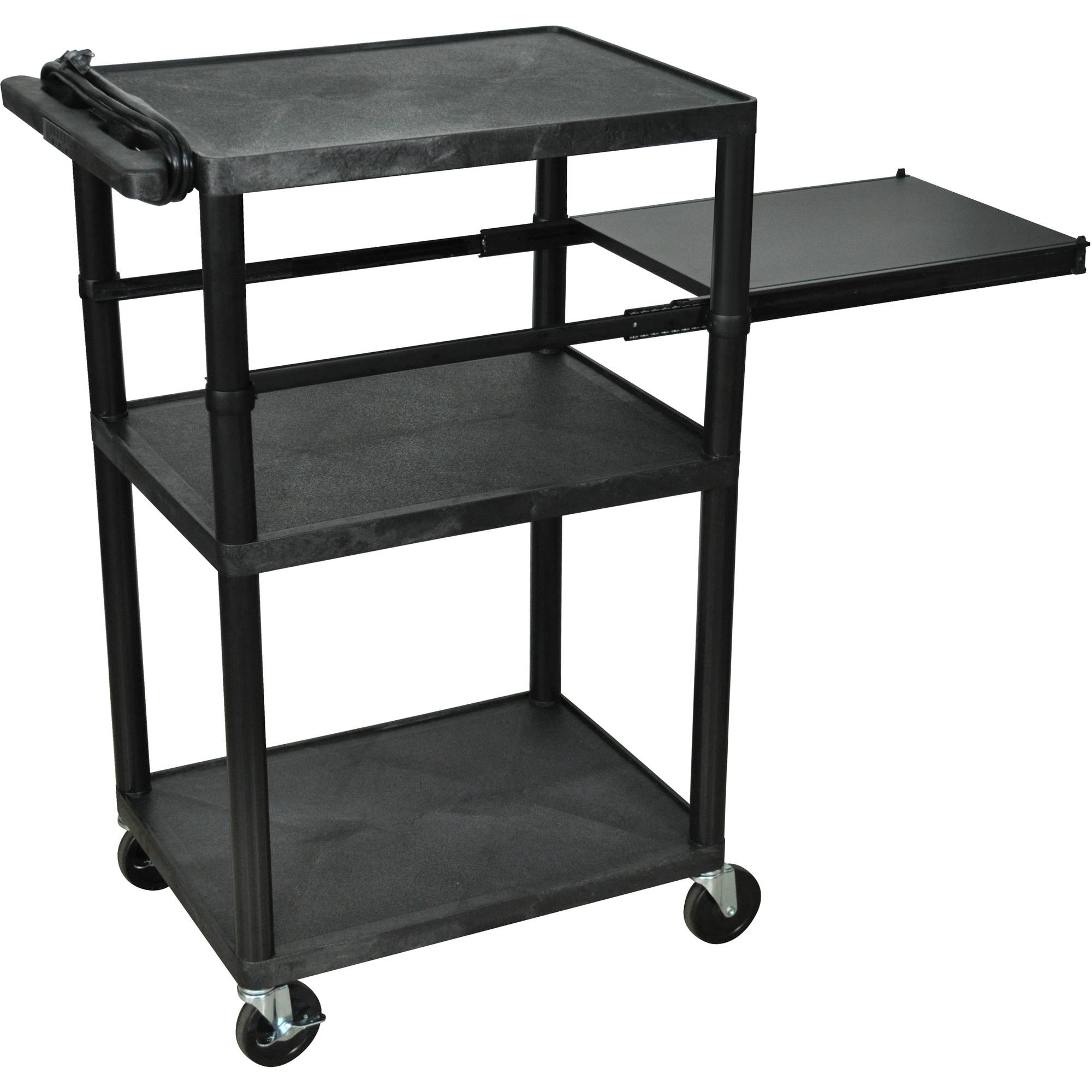 Luxor 3-Shelf A/V Cart with Electric and Side Pullout Shelf, Black