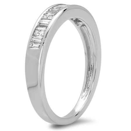 Dazzlingrock Collection 0.33 Carat (ctw) 10K Princess & Baguette Cut Diamond Wedding Stackable Band 1/3 CT, White Gold, Size 5 Princess Cut Tapered Baguettes