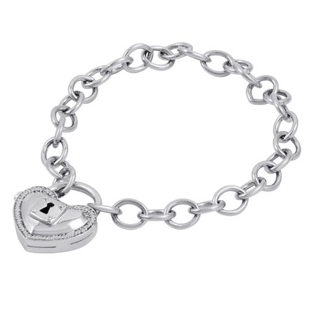 Forever Locking Love 1 10 Ct T W Diamond Heart Shaped Lock Charm Bracelet