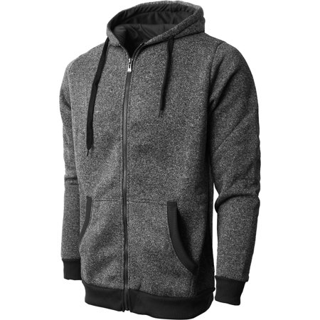 Mens Marled Zip Up Jacket Hoodie Brushed Fleece Soft Lightweight Basic Solid Sweater Cotton Blend Fleece Jacket