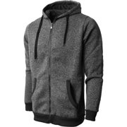 Mens Marled Zip Up Jacket Hoodie Brushed Fleece Soft Lightweight Basic Solid Sweater