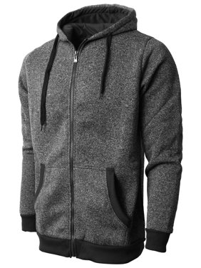 99a487e89e Product Image Mens Marled Zip Up Jacket Hoodie Brushed Fleece Soft  Lightweight Basic Solid Sweater