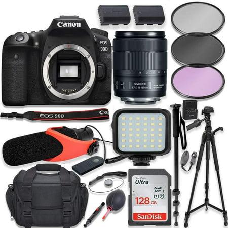 "Canon EOS 90D DSLR Camera w/Canon 18-135mm USM Lens Kit + Pro Photo & Video Accessories Including 128GB Memory, LED Light, Condenser Micorphone, 60"" Tripod & More"