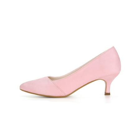 Unique Bargain Women s Pointed Toe Slip On Kitten Heel Classic Pumps Pink  (Size 5.5) ...