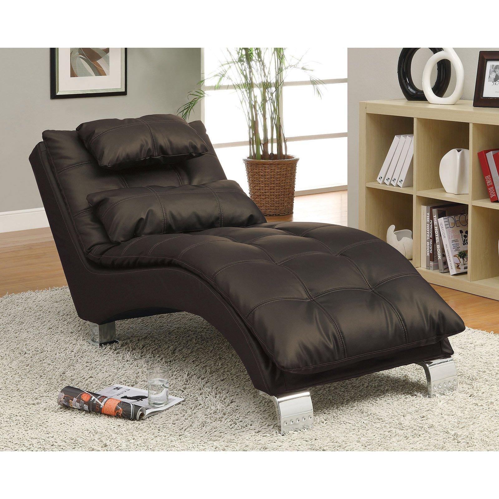 Coaster Company Chaise, Dark Brown/Chrome